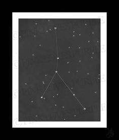 CANCER Constellation Star Sign (8x10 digital art print) black and white chalkboard, astrology, zodiac, crab / ready to ship.