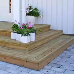 52 Best Ideas For Wood Patio Stairs Staircases Patio Steps, Wood Steps, Concrete Steps, Back Patio, Backyard Patio, Backyard Landscaping, Small Front Porches, Decks And Porches, Front Porch Stairs