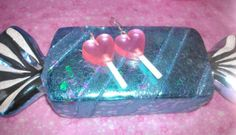 Candy Pink Dangle Heart Mini Lollipop by GlamCandyBoutique on Etsy, $8.00