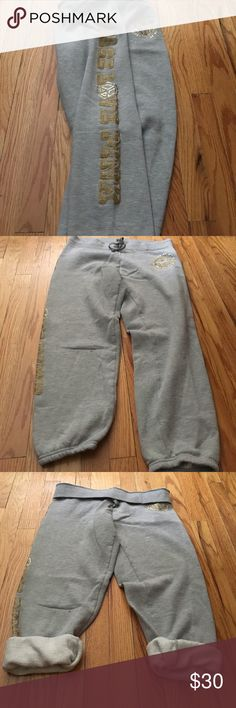"Victoria Secret PINK grey sweatpants! Victoria Secret PINK grey sweatpants with ""Peace Love Pink"" down right leg and embellished design on upper left leg! Sz M PINK Victoria's Secret Pants Track Pants & Joggers"