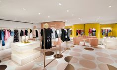 Located in Hong Kong's largest shopping mall, the 135-sq-m store's brass and glass façade displays the theatrical white, pink and ochre palette and luxe furnishings of Mahdavi's design.