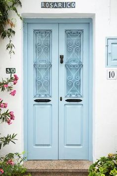 size: Photographic Print: Made in Spain Collection - Sky Blue Door by Philippe Hugonnard : Painted Front Doors, Blue Front Doors, Florida Home Decorating, Door Header, Color Collage, House Paint Exterior, Old Doors, Apartment Design, House Painting