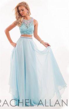 Long Sky Blue Lace Rachel Allan 6889 Two Piece Prom Dress