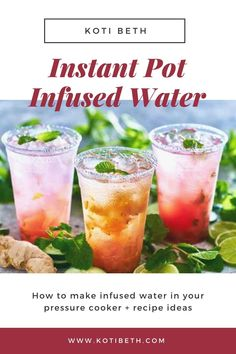 Learn how to make fruit infused water in your Instant Pot pressure cooker. Includes recipes how to make an infused water concentrate with any fruit like strawberry, lemon, cucumber, blueberry, strawberry, or even ginger and mint.  Use fresh fruit or frozen fruit or berry. Get ideas for new flavors for DIY infused water recipes at home. #infusedwater #fruit #instantpot Fruit Water Recipes, Flavored Water Recipes, Drink Recipes, Flavored Waters, Infused Waters, Health Recipes, Instant Pot Pressure Cooker, Pressure Cooker Recipes, Pressure Cooking