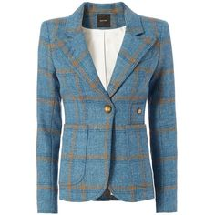 Smythe Women's Patch Pocket Plaid Blazer ($695) ❤ liked on Polyvore featuring outerwear, jackets, blazers, preppy blazer, smythe jackets, patch pocket jacket, blue plaid blazer and blue jackets