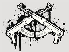 vector AK 47 by Ak 47, Tattoo Drawings, Body Art Tattoos, Self Made Tattoo, Ak47 Tattoo, Pirate Ship Tattoos, Eagle Drawing, Money Tattoo, Hand Tattoos For Guys