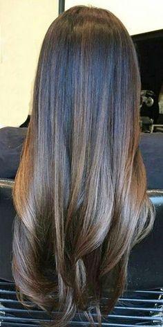 Hair highlights balayage lob haircut ideas for 2019 Balayage Brunette, Hair Color Balayage, Brunette Hair, Hair Highlights, Ombre Hair, Balayage Lob, Brunette Color, Ash Ombre, Balayage Straight