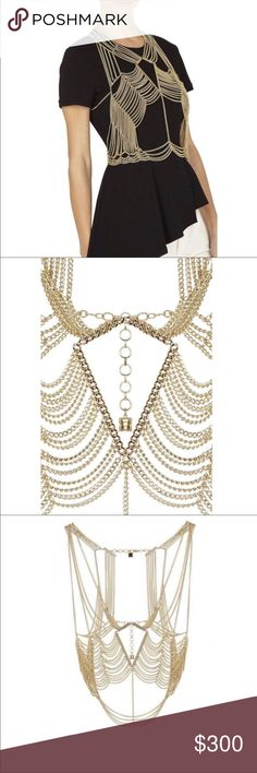 "BCBGMAXAZRIA Women's Metallic Gold Tone Body Chain FROM RUNWAY Achieve textured perfection by draping this game-changing body chain over one of our curve-complementing LBDs. Body chain. Multi-strand chains with cutouts at yoke and bodice. Center front chain at bodice. Open back with multi-strand vertical chains on either side. Adjustable length with dual lobster-clasp fastenings and signature icon hardware at back neck and waistline. Material: Copper alloy. Measures approximately 27"" in… Draping, Metallic Gold, Lobster Clasp, Fashion Tips, Fashion Design, Fashion Trends, Chain, Outfits, Things To Sell"