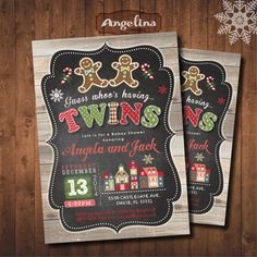 Christmas Twins Baby Shower Invitation by AngelinaWorks on Etsy