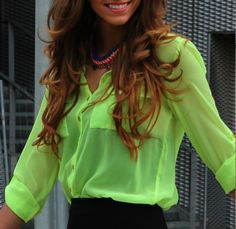 Do this with my teal blue shirt and my new black skirt 80s Fashion, Cute Fashion, Girl Fashion, Womens Fashion, Fashion Tips, Neon Shirts, Cute Shirts, Stylish Outfits, Cute Outfits