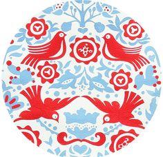 Alexander Henry, Folklorico, La Paloma Blue/Red - stockings? $5.15 per 1/2 yard via fabricworm.com