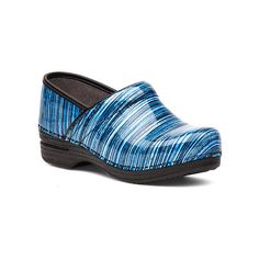 Dansko Pro XP Clogs & Mules ($150) ❤ liked on Polyvore featuring shoes, blue striped patent, clogs mules, dansko clogs, dansko shoes, mules clogs shoes and cushioned shoes