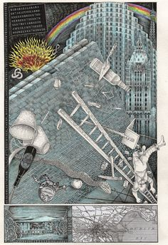 John Vernon Lord. 'The Fall', an illustration by John Vernon Lord for Finnegans Wake by James Joyce, The Folio Society, 2014.