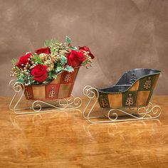 "Sleigh Planter. Two Assorted. Dimensions: L:9.25""xW:4.5""xH:3""(Product Characteristic: Sleigh) / (Fabric Content: Metal) Christmas Decorations Wholesale, Outdoor Christmas Decorations, Outdoor Decor, Crafts To Make, Arts And Crafts, Butterfly Chair, Holiday Crafts, Special Occasion, Planters"
