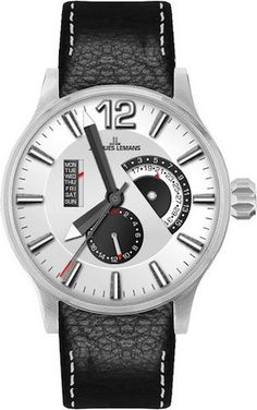 Jacques Lemans 1-1741H Men's Watch Date/Day Black Leather Strap Black Dial