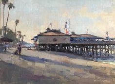 Jim McVicker Painted at San Clemente Pier this morning. Seascape Paintings, Landscape Paintings, Landscapes, Abstract Landscape, Abstract Art, San Clemente Pier, Fine Art Gallery, Painting Inspiration, Coastal