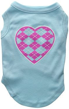 Mirage cat Products Argyle Heart Pink Screen Print Shirt Aqua Med (12) *** Startling review available here  : Cat Apparel
