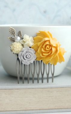 """Yellow and Grey Flower Comb, Ivory, Leaf, Pearl Collage Hair Comb, Bridesmaids Gift, Bridal Hair Wedding. Yellow Grey Wedding, Summer Rustic by Marolsha - <a href=""""https://www.etsy.com/listing/183673400/yellow-and-grey-flower-comb-ivory-leaf?ref=shop_home_active_20&ga_search_query=grey%2Bcomb"""" rel=""""nofollow"""" target=""""_blank"""">www.etsy.com/...</a>"""