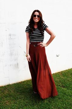 Maxi skirt & stripes. The brick red of the skirt looks great.