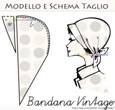 """Vintage sewing template: Italian pattern for """"Bandana Vintage,"""" a style kerchief hat with a small, soft brim, and it ties in the back. [Modello e schema taglio: Bandana Vintage] Sewing Hacks, Sewing Tutorials, Sewing Crafts, Sewing Projects, Tutorial Sewing, Diy Projects, Free Sewing, Vintage Sewing Patterns, Hat Patterns To Sew"""