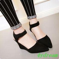 Summer Women PU Wedge Mid Heel Platform Open Toe Lace Sandals Shoes Slim