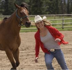 Amy always happy when running with a horse following