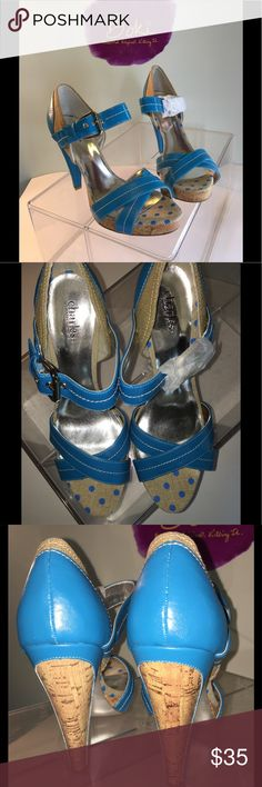 NWOT Charles by Charles David platform Sz 10 Talk about fun! These Charles by Charles David patent and polka dot platform sandal are on-trend and sexy! Never worn - wrap still on one buckle. Shoes Sandals