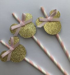 Items similar to Minnie Mouse Birthday Party Sraws. Pink and gold minnie party. Minnie Mouse party decorations on Etsy Minnie Mouse Birthday Decorations, Minnie Mouse First Birthday, Gold First Birthday, Minnie Mouse Birthday Invitations, Glitter Birthday Parties, 1st Birthday Parties, Minnie Y Mickey Mouse, Gold Party, Minnie Mouse Party