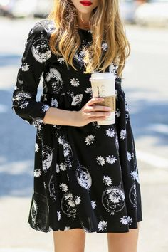 Floral Print 3/4 Sleeves Round Collar Straight Dress