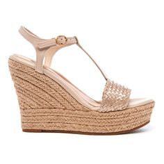UGG Women's Fitchie II T-Strap Jute Wedged Espadrille Sandals ($135) ❤ liked