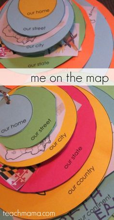 Me on the Map: how to teach kids where in the world they live! Circles show where kids live on the planet, continent, country, state, city, street, and home.  #teachmama #kidsactivities #geography #kidsgeography #handsonlearning #learningactivities #geographyactivities