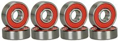 Bearings 36624: High Quality Abec Bearings Skateboard Deck Longboard Red Silver 1 Set Of 8 New -> BUY IT NOW ONLY: $104.24 on eBay!