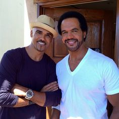Shemar Moore & Kristoff St John at The Talk at CBS Studios September 2014 Sherman Moore, Ann Margret Photos, Vintage Black Glamour, People Of Interest, How To Look Handsome, Stars Then And Now, Young And The Restless, Dream Guy, Good Looking Men