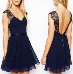 blue backless navy lace dress