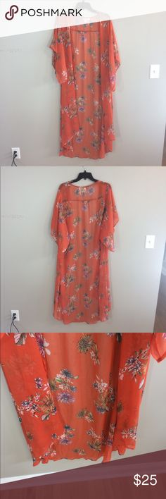 """Band Of Gypsies Floral Kimono Duster Has some black spots on the right hand side sleeve. Has some runs and loose threads in various spots: shown in photos. Care tag has been cut out so I don't know what Material it's made of. 51"""" length: no trades. Band of Gypsies Sweaters Cardigans"""