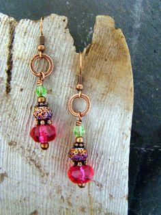 Sweet Cherry Berry Dangle Earrings Copper Crystal     by Sewartzee, $12.00
