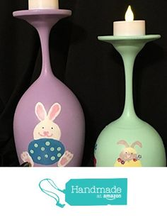 Hand Painted Easter Bunny Candle Holders Set of 2 (candles not included) from My Retirement http://www.amazon.com/dp/B01CF0F8FY/ref=hnd_sw_r_pi_dp_WUh5wb1TZ87JP #handmadeatamazon
