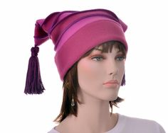 Cheshire Jester Striped Two Point Hat Magenta Pink Fleece Winter Hat with Tassels