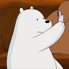 Ice bear is taking selfie Ice Bear We Bare Bears, We Bear, Panda Kawaii, Bear Meme, Cute Funny Pics, We Bare Bears Wallpapers, Cute Disney Drawings, Bear Wallpaper, Cute Cartoon Wallpapers