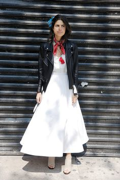 ManRepeller Leandra Medine in the VEDA Jayne black leather moto jacket