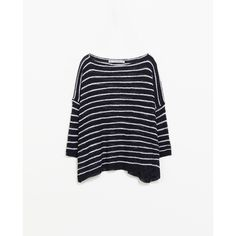 Zara Striped Sweater With Boat Neck (65 BRL) ❤ liked on Polyvore featuring tops, sweaters, blue striped top, zara sweaters, blue sweater, bateau neckline tops and slash neck top