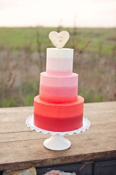 from Style Me Pretty  #Ombre #Wedding Cake
