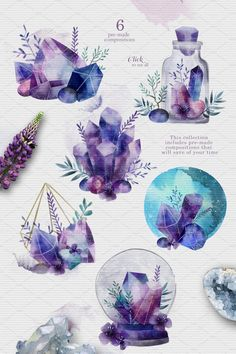 Watercolor collection ~ Illustrations ~ Creative Market Source by Summertrends. Illustration Cristal, Watercolor Illustration, Watercolor Paintings, Watercolor Stickers, Watercolor Artists, Abstract Paintings, Art Paintings, Painting Art, Landscape Paintings