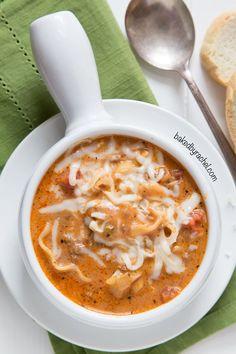 Easy slow cooker lasagna soup recipe from @bakedbyrachel