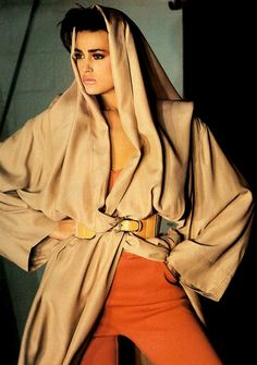Yasmin Le Bon by Francois Lamy, 1985. LOVE THIS HOOD.
