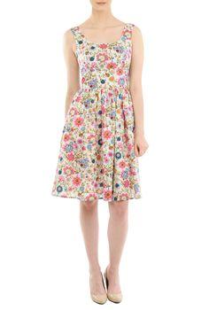 Vibrant Floral Print Dresses, White Wide And Low Scoop Neck Print Dresses Shop women's long sleeve dresses - Women's designer dresses: Casual Cotton, Long, Fall & Knit Dresses - -   eShakti
