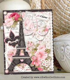 A beautiful cottage chic card making idea to say how much you love someone!  There are so many uses for this shabby digital kit, and this was just one way to use it.   Card created using Ooh La La Collection from Nitwit Collections