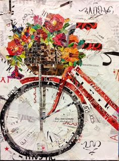 Get Your Spring Fix Art Print Torn Paper Collage Print featuring the painting Get Your Spring Fix by Suzy Pal Powell Collage Kunst, Paper Collage Art, Collage Collage, Collage Artists, Magazine Collage, Magazine Art, Ideas Magazine, Bicycle Art, Bicycle Basket