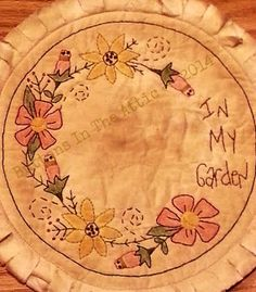 Primitive 'In My Garden' Candle Mat  Ready to Ship by ButtonsInTheAttic