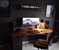 21 Best DIY Computer Desk Ideas for Home Office Inspiration Home Office Ideas Computer Desk DIY Home Ideas Inspiration Office Workspace Design, Office Interior Design, Office Interiors, Office Designs, Computer Desk Setup, Gaming Room Setup, Ikea Gaming Desk Hack, Computer Room Decor, Pc Desks